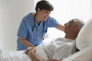 hospital nurse and elderly man